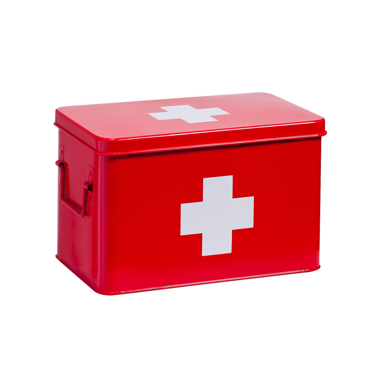 zeller cassetta pronto soccorso in metallo rossa a 5 scomparti