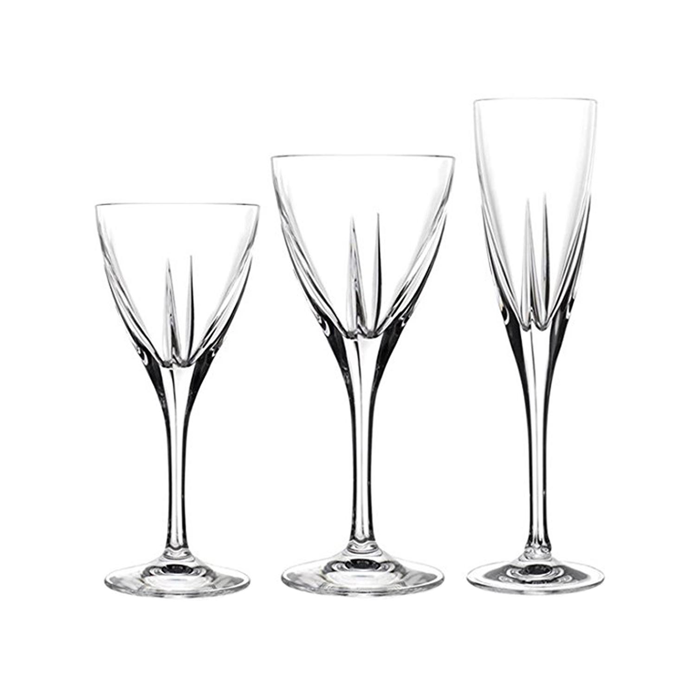 Calici Vino E Acqua rcr set 18 calici in vetro sonoro acqua e vino fusion | ebay