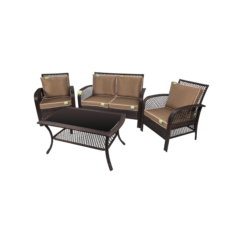 Set sofa premier con tavolo e divanetti marrone giardino for Divanetti giardino