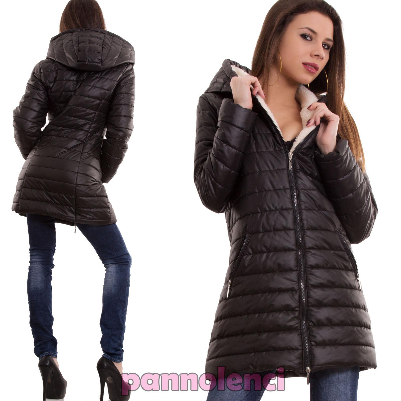 new styles 2c451 bd75d Detalles de Piumino donna giubbotto giaccone lungo cappuccio maniche lunghe  nuovo CC-1076