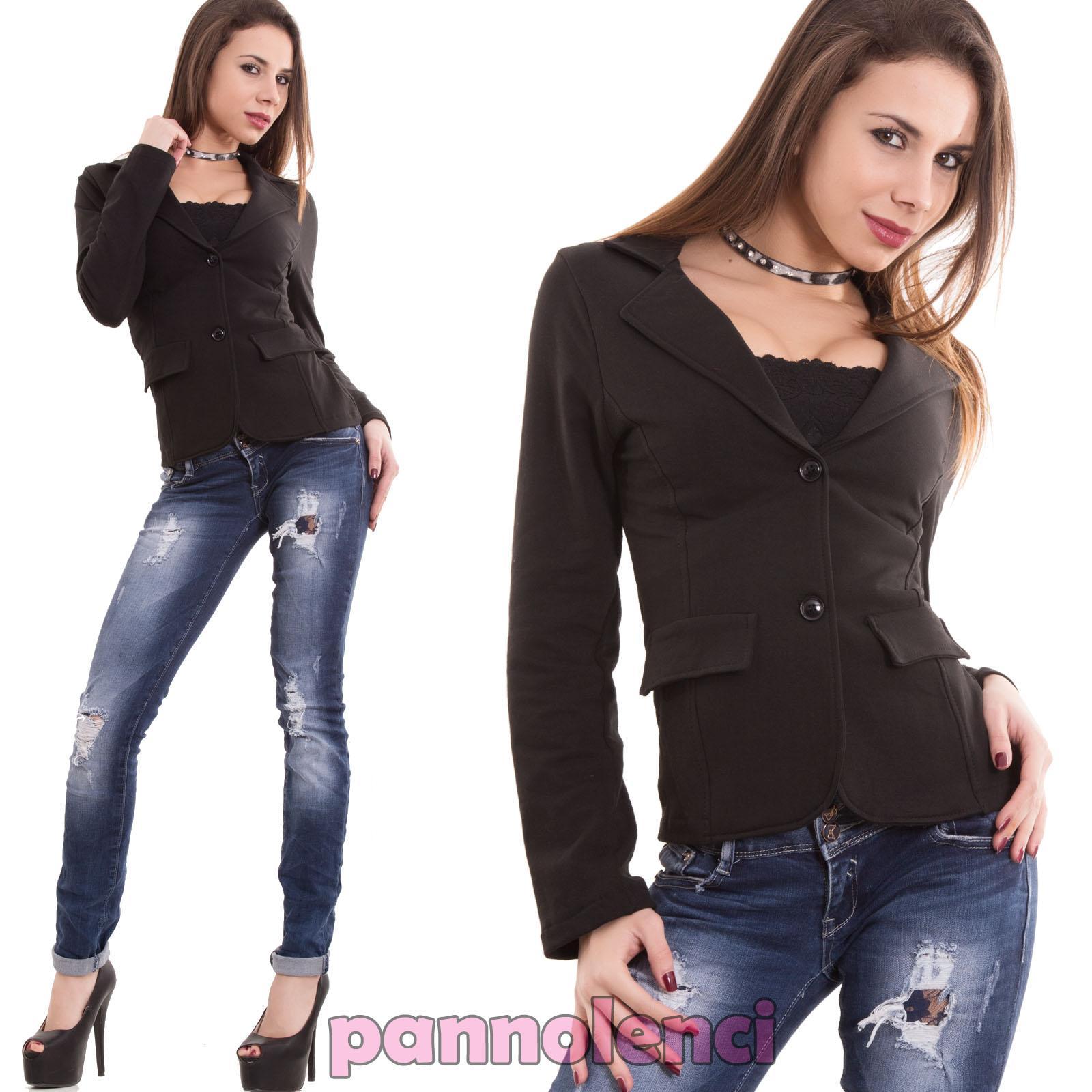 Giacca-donna-felpata-cotone-maniche-lunghe-avvitata-bottoni-nuova-CC-1113