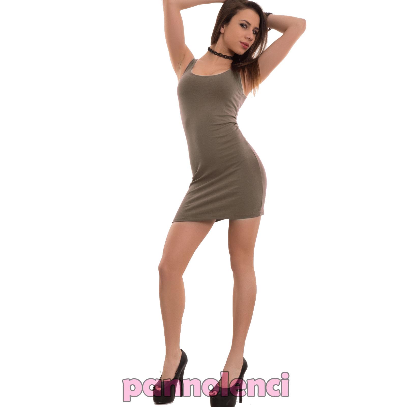 Vestito-donna-miniabito-canotta-lunga-tubino-corto-fascia-elastico-nuovo-CC-1246