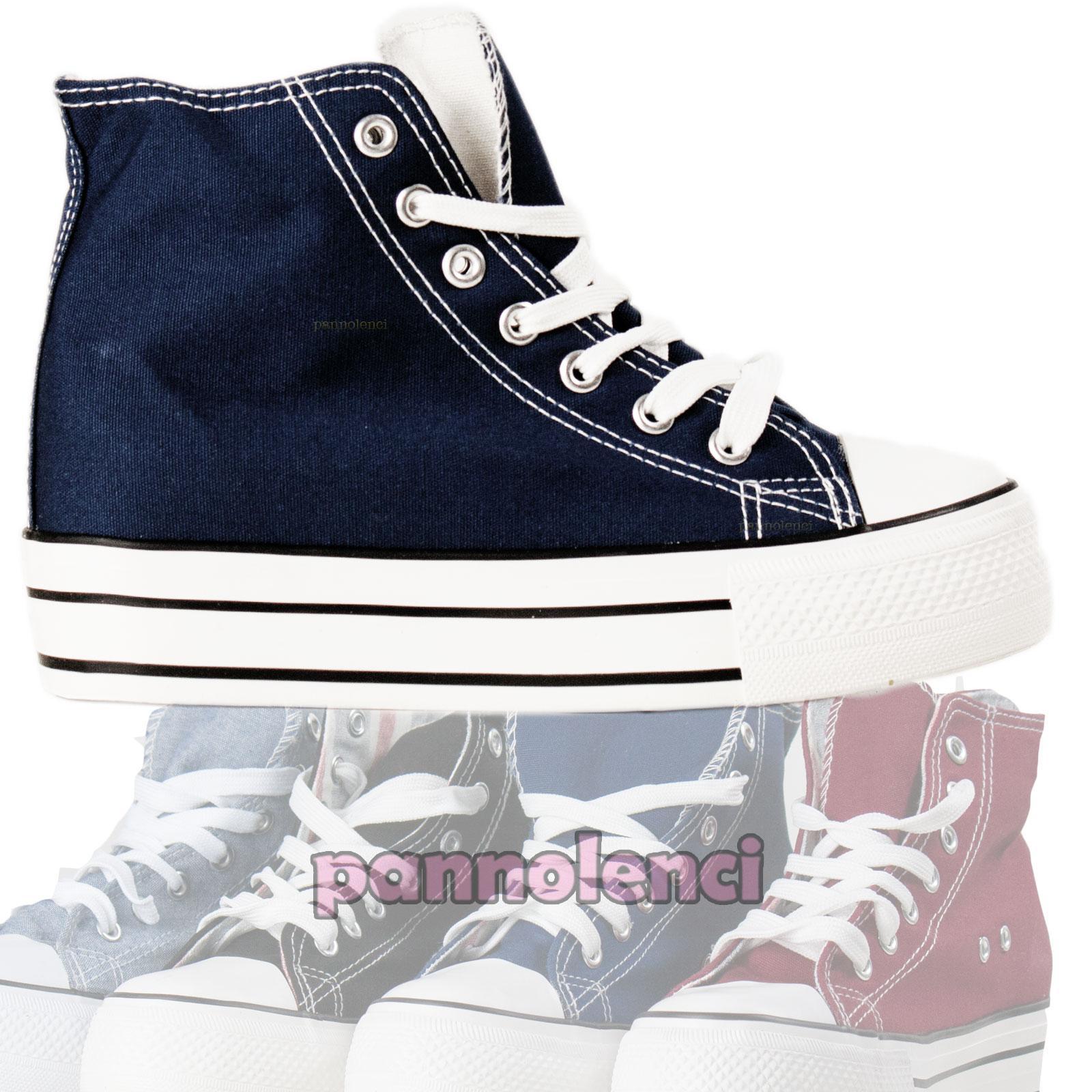 Sneakers Scarpe Donna Con Pailettes Zeppa Interna Alte Lacci tipo Converse Moda o5uM5D6